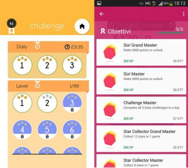 six-android-obiettivi