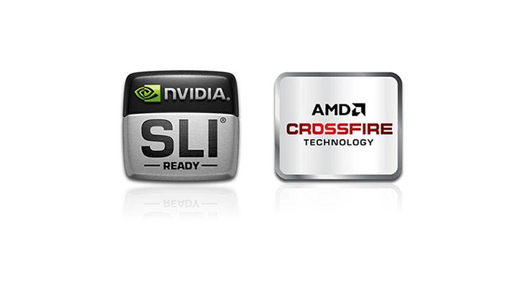 Logo AMD CrossFire e Nvidia SLI