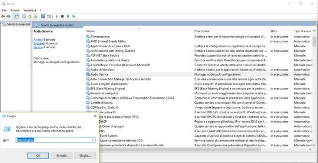 Comando per accedere ai servizi di Windows