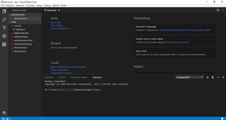 Schermata principale di VS Code