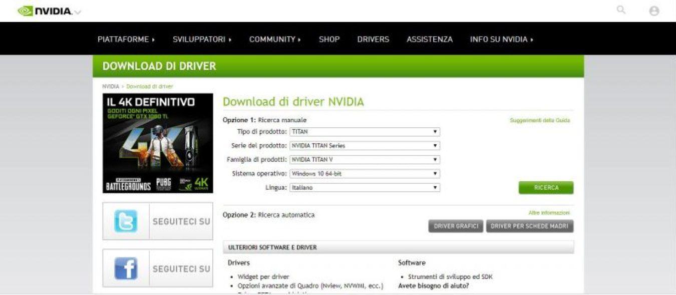 Schermata di download dei driver Nvidia