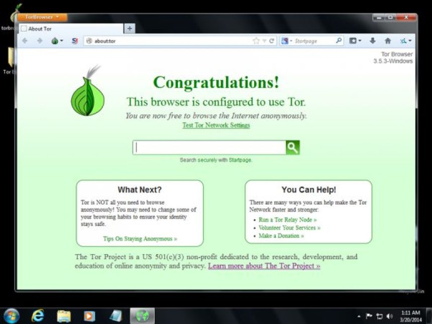 Schermata principale di Tor Browser