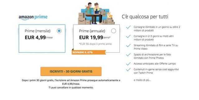 Tariffe Amazon Prime
