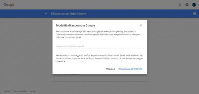 Eliminare account Gmail da questa schermata
