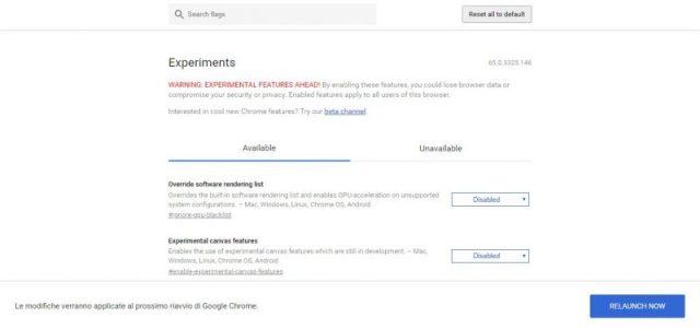 Ottimizzare Google Chrome modificando le impostazioni relative alla GPU