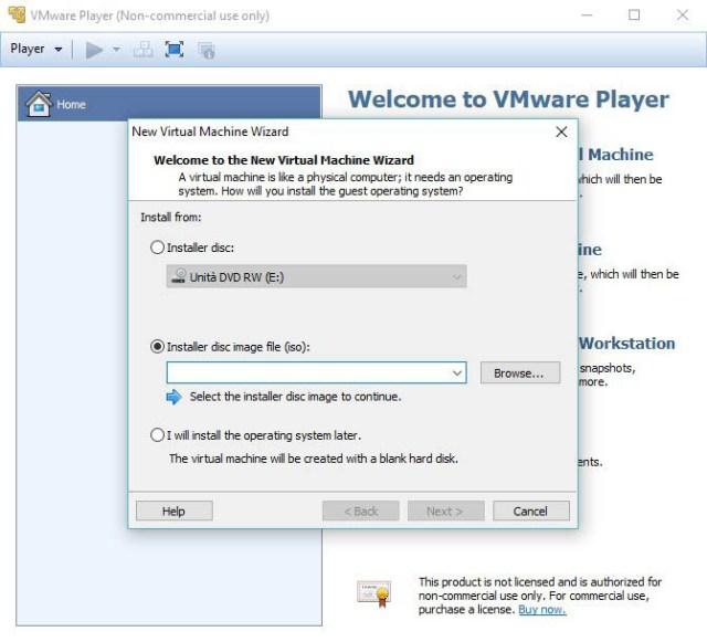 Nuova macchina virtuale su VMware Player