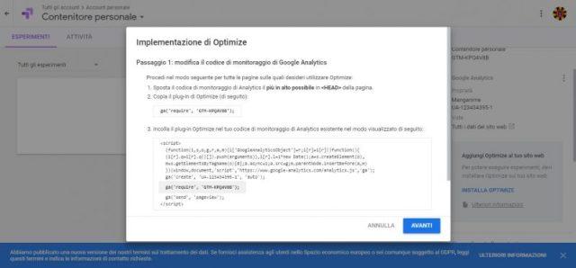 Codice monitoraggio di Optimize