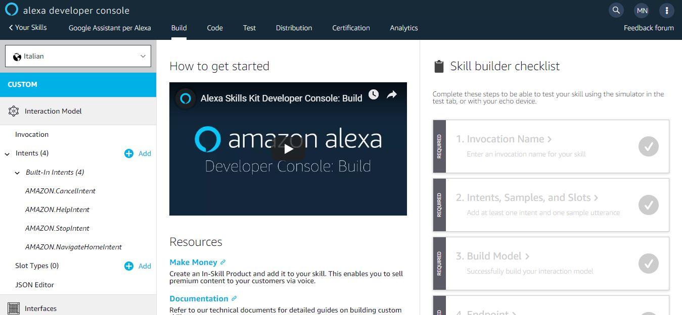 Impostazioni Skill per Alexa
