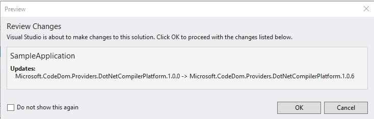 Microsoft.CodeDom.Providers.DotNetCompilerPlatform Nuget Package Update