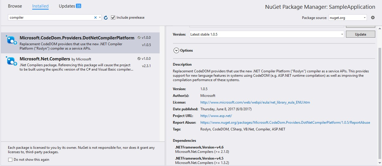 Nuget Packages To Update For CSharp7