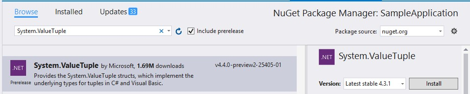 System.ValueTuple Nuget Package