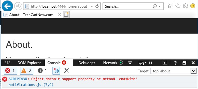 Visual Studio Reactjs Typescript: JavaScript String EndsWith() Method