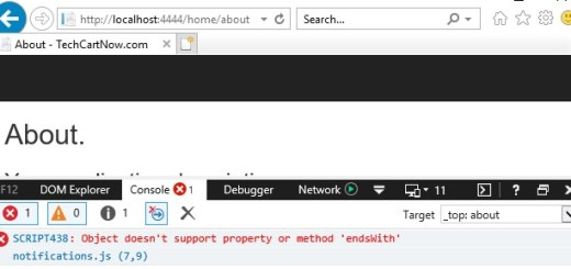 Object doesn't support property or method 'endsWith