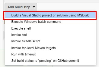 Add build step - Build a Visual Studio project or solution using MSBuild