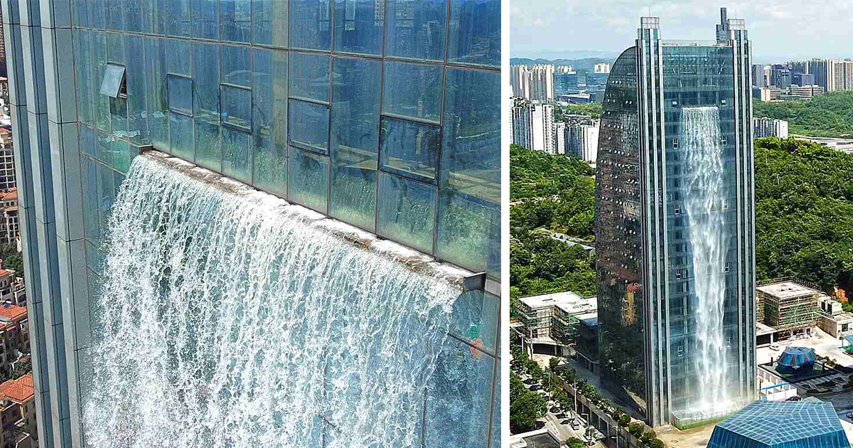 China Builds a Giant Artificial Waterfall On A Skyscraper