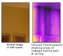 Infrared thermography showing area of leakage behind wall and ceiling