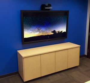 """Clean VTC install with a Cisco SX80 integration using a 70"""" commercial grade monitor."""