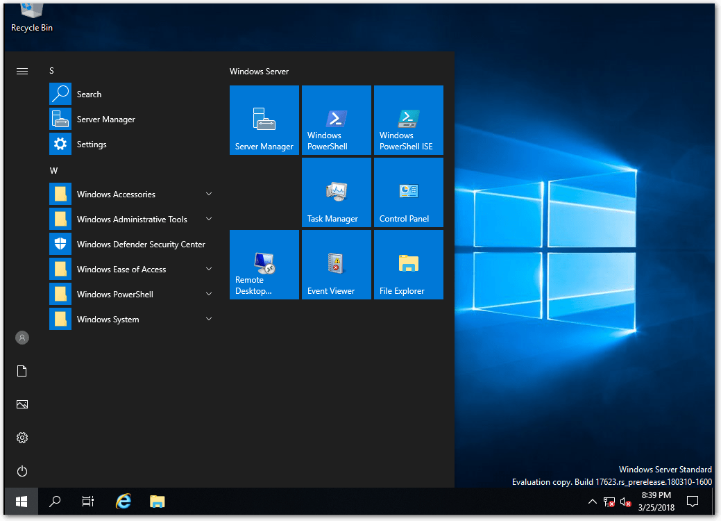 Windows Server 2019 Start Menu