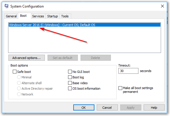 Windows Server 2019 System Configuration Shows 2016
