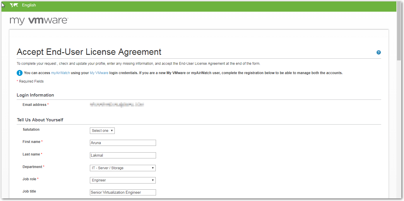 VMware Cloud on AWS EULA