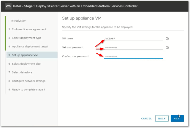 vCenter Server 6.7 VMname