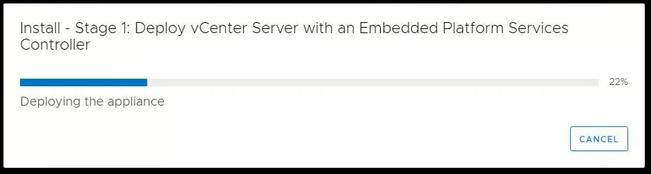 vCenter Server 6.7 : Progress