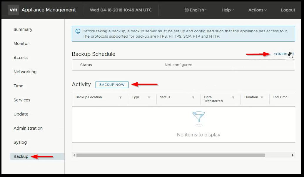 vCenter Server 6.7 : Backup Improvement