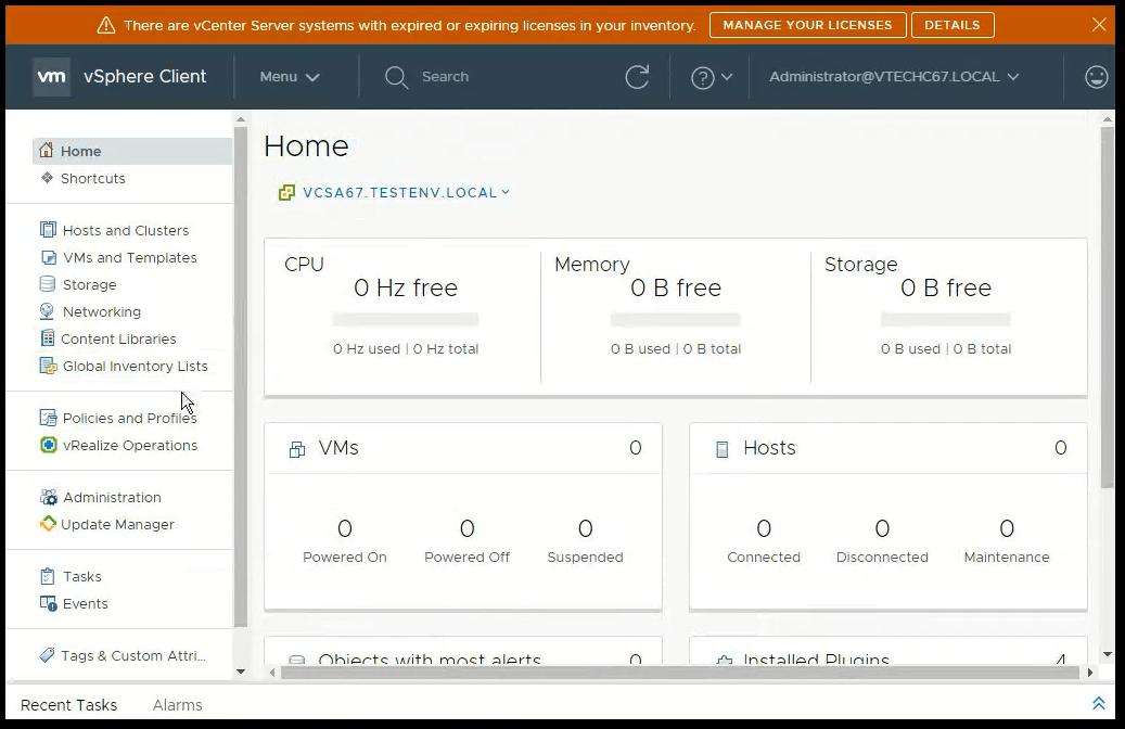 vCenter Server 6.7 : Home