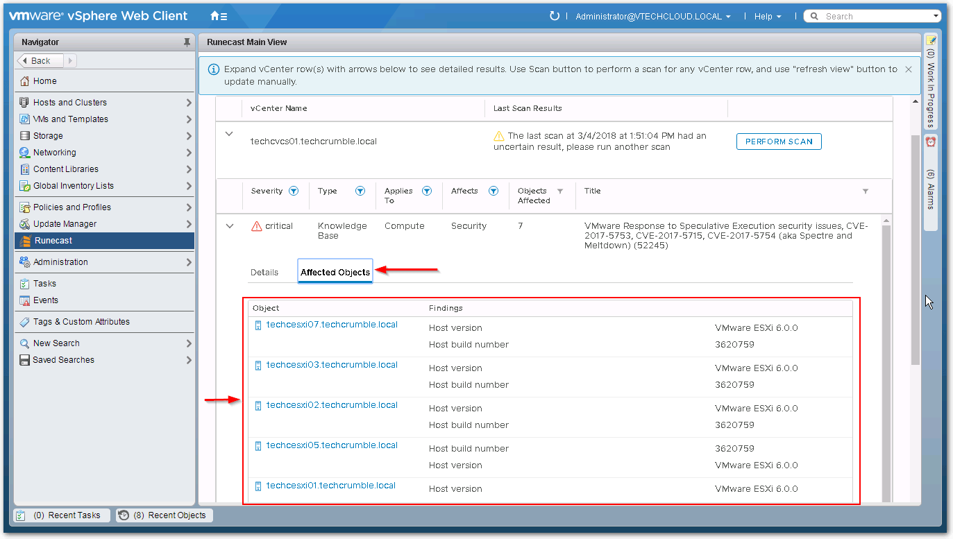 Web Client Objects tab