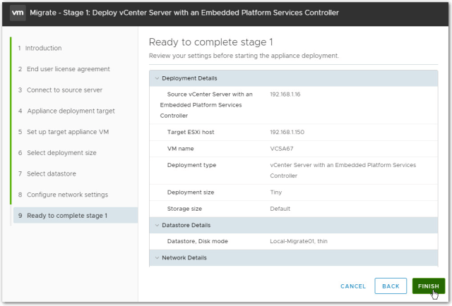 Migrate Windows Based vCenter Server to VCSA 6.7 : Finish