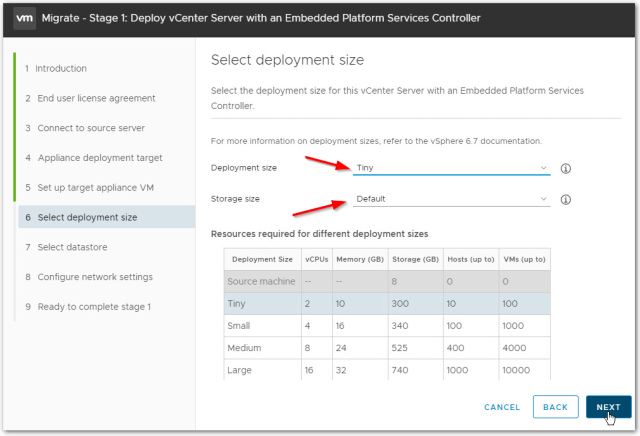 Migrate Windows Based vCenter Server to VCSA 6.7 : Deployment Size