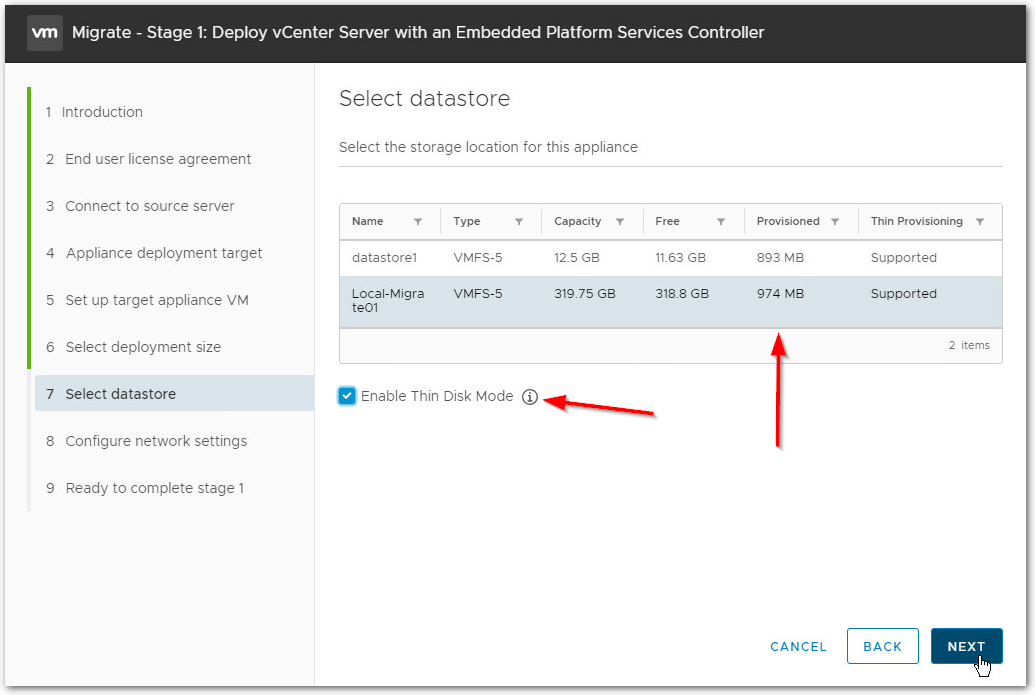 Migrate Windows Based vCenter Server to VCSA 6.7 : enable thin