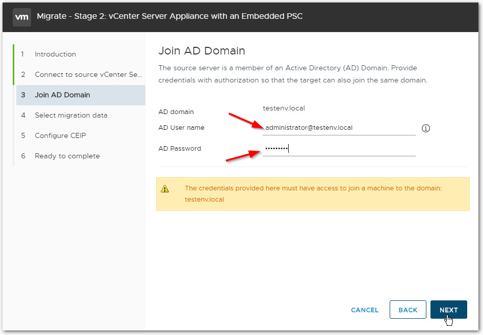 Migrate Windows Based vCenter Server to VCSA 6.7 : AD Credentials