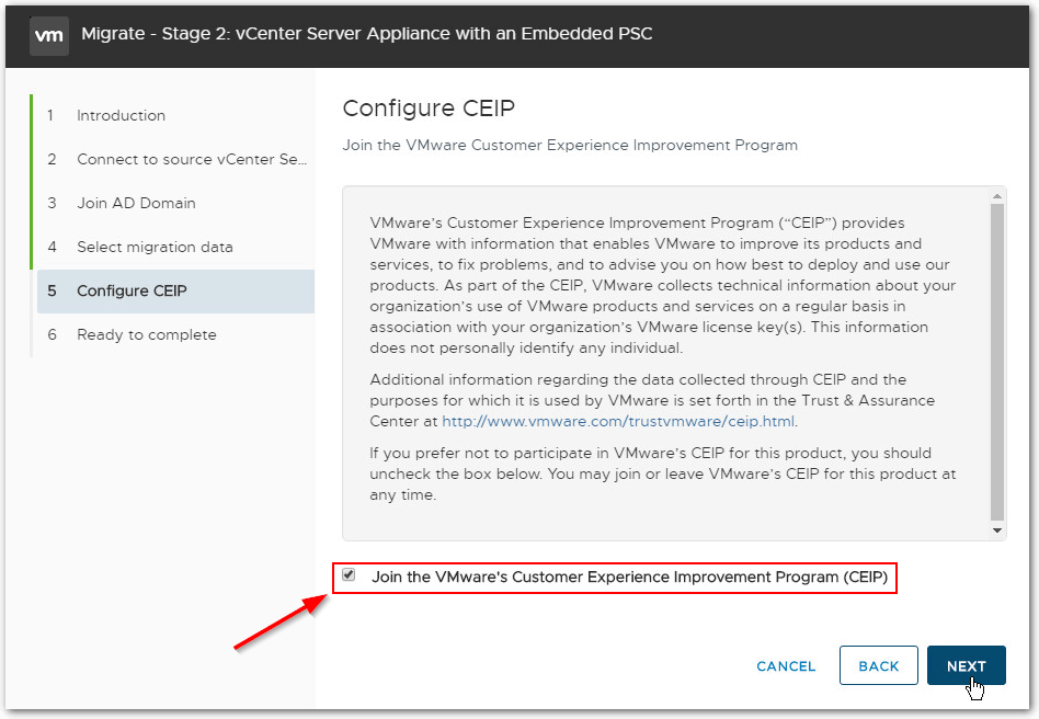 Migrate Windows Based vCenter Server to VCSA 6.7 : CIEP