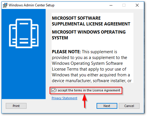 Windows Admin Center : EULA
