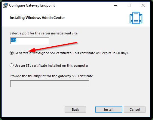 Windows Admin Center : Set the port