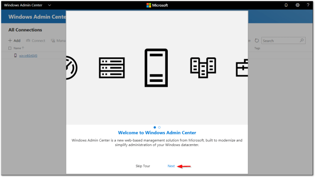 Windows Admin Center : Skip Tour