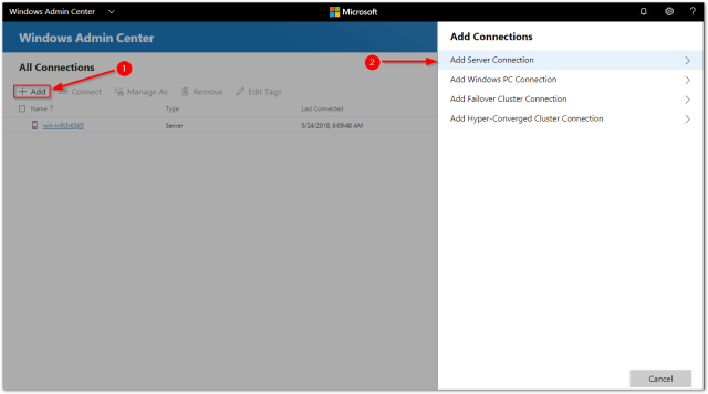 Windows Admin Center : New Connection