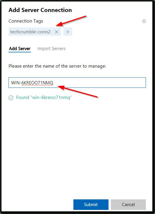 Windows Admin Center : Tags and FQDN