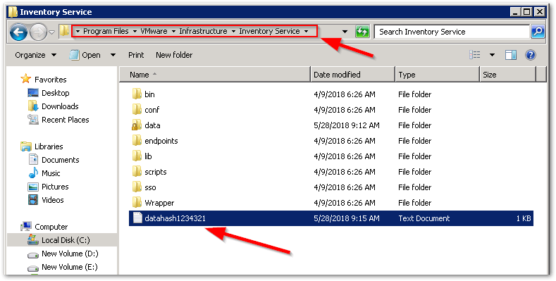Reset vCenter Inventory Service Database : Output file