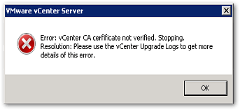 distributed Windows based vCenter Server 5.5 to an embedded VCSA 6.5 : CA Not verified