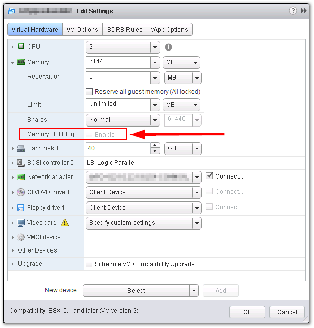 CPU Hot Add And Memory Hot Plug Features Are Grayed Out : Grayed Out