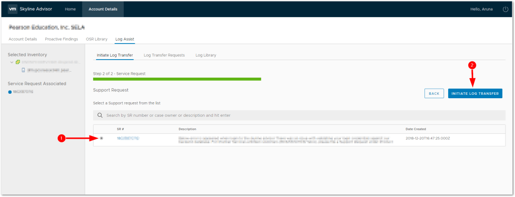 VMware Skyline Log Assist : Initiate Log Transfer