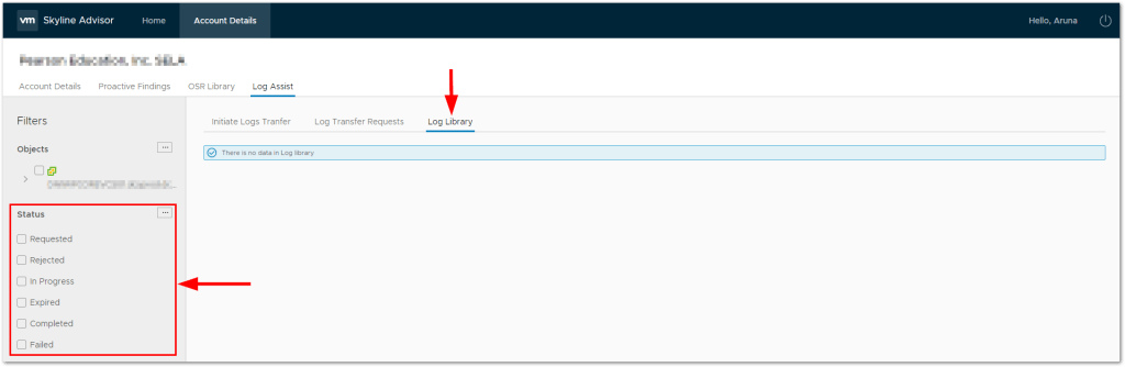 VMware Skyline Log Assist : Log Library