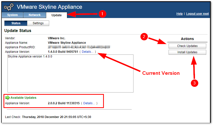 VMware Skyline Collector 2.0 : Check update