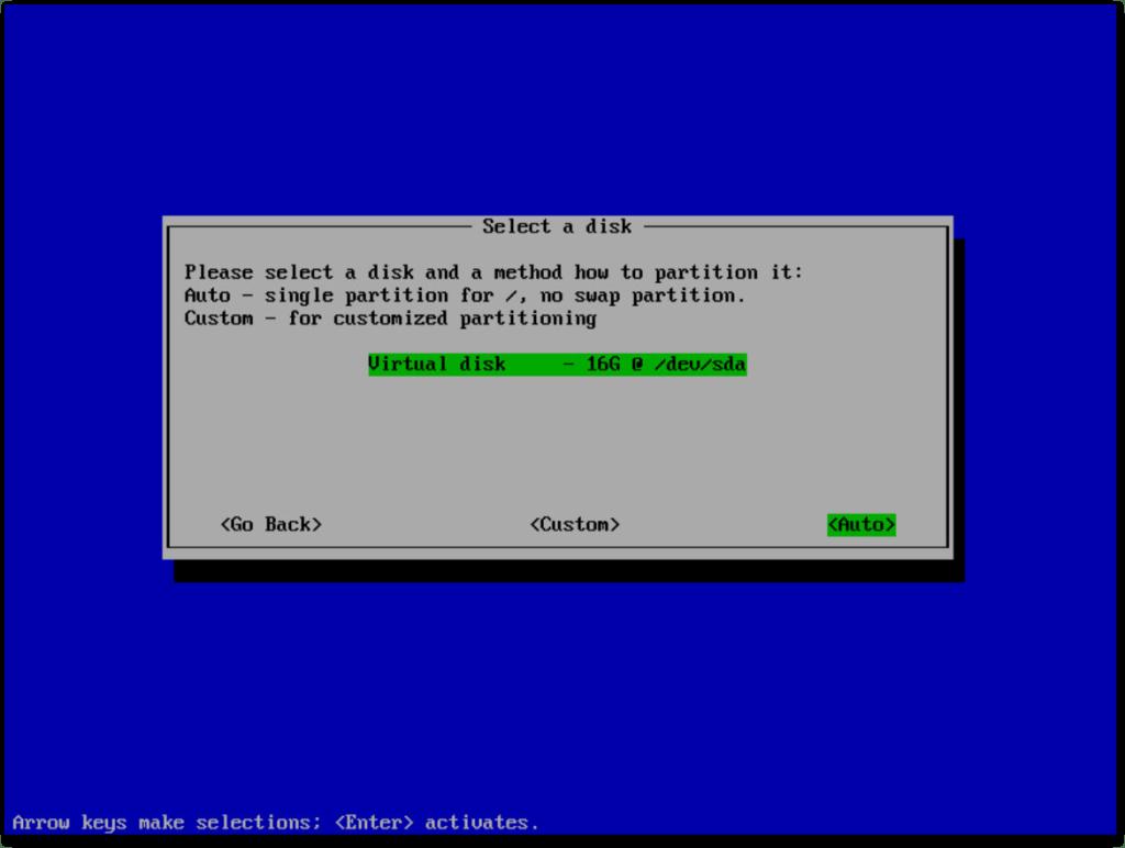 VMware Photon OS : Select a Disk