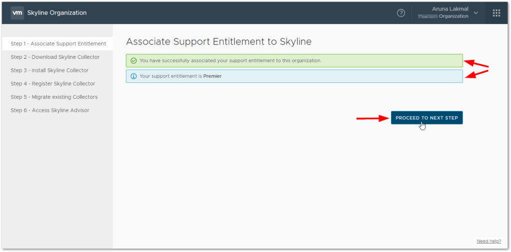 Token For VMware Skyline Collector : Detected the Support Agreement