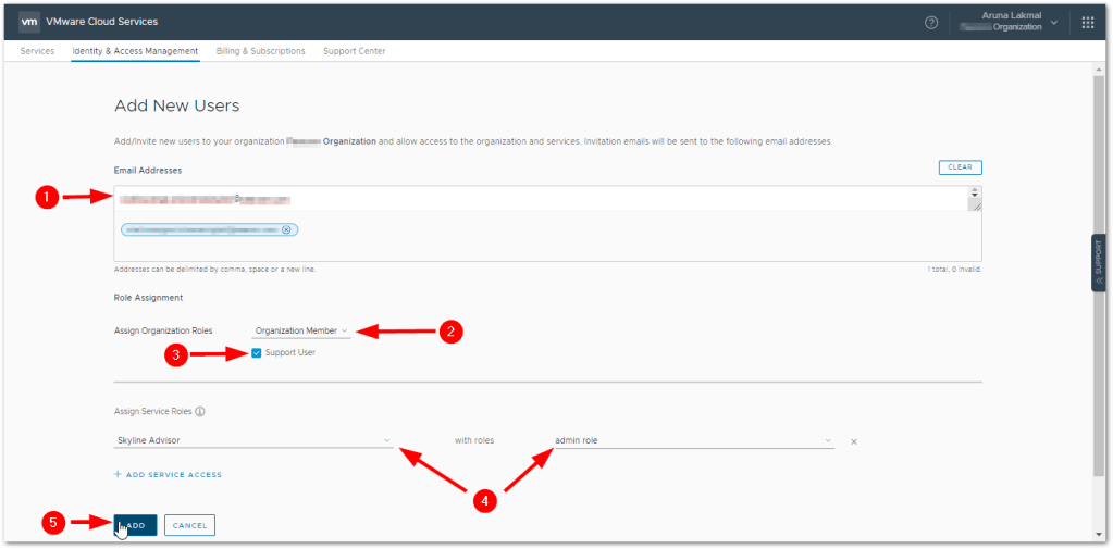 Token For VMware Skyline Collector : Add Users
