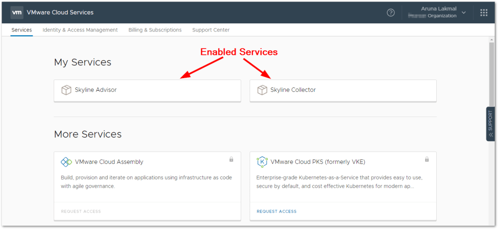 Token For VMware Skyline Collector :   Enabled Services