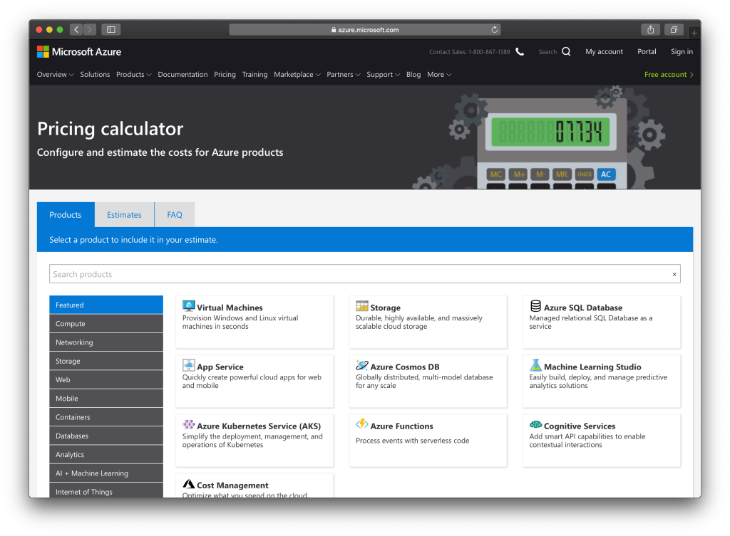 How To Use Microsoft Azure Pricing Calculator : Interface
